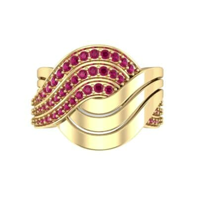Half-Pave Harmony Ruby Ring (0.48 CTW) Top Flat View