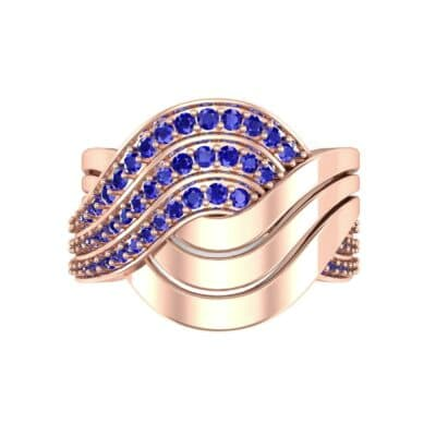 Half-Pave Harmony Blue Sapphire Ring (0.48 CTW) Top Flat View