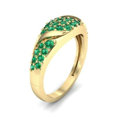 Rounded Pave Emerald Ring (0.44 CTW) Perspective View