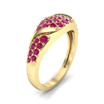 Rounded Pave Ruby Ring (0.44 CTW) Perspective View