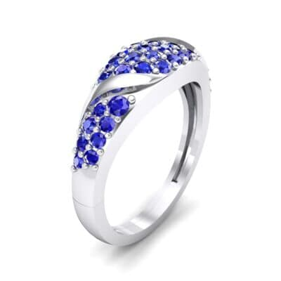 Rounded Pave Blue Sapphire Ring (0.44 CTW) Perspective View