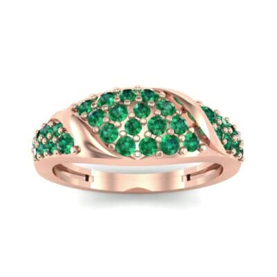 Rounded Pave Emerald Ring (0.44 CTW) Top Dynamic View