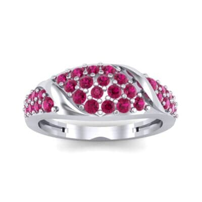 Rounded Pave Ruby Ring (0.44 CTW) Top Dynamic View