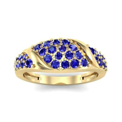 Rounded Pave Blue Sapphire Ring (0.44 CTW) Top Dynamic View