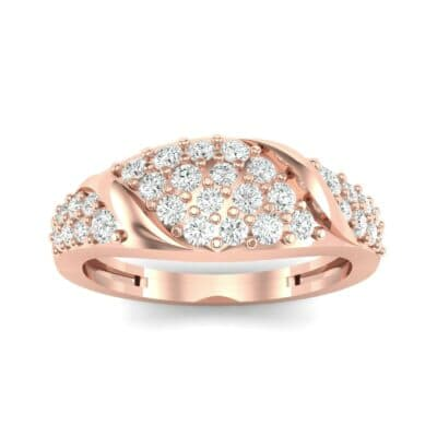 Rounded Pave Diamond Ring (0.44 CTW) Top Dynamic View