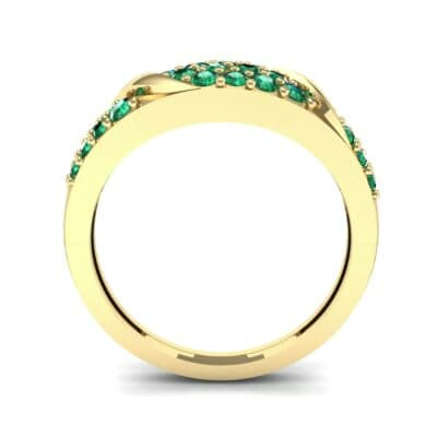 Rounded Pave Emerald Ring (0.44 CTW) Side View