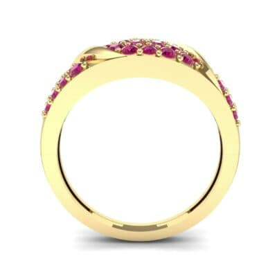 Rounded Pave Ruby Ring (0.44 CTW) Side View