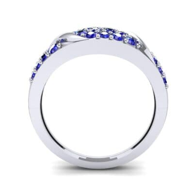 Rounded Pave Blue Sapphire Ring (0.44 CTW) Side View