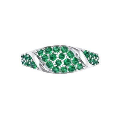 Rounded Pave Emerald Ring (0.44 CTW) Top Flat View