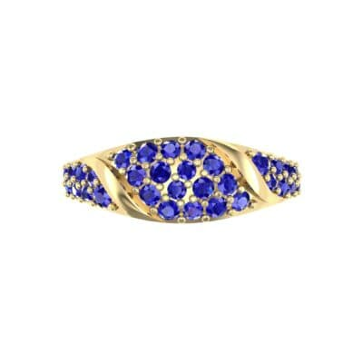 Rounded Pave Blue Sapphire Ring (0.44 CTW) Top Flat View