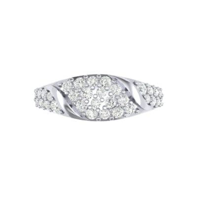 Rounded Pave Diamond Ring (0.44 CTW) Top Flat View