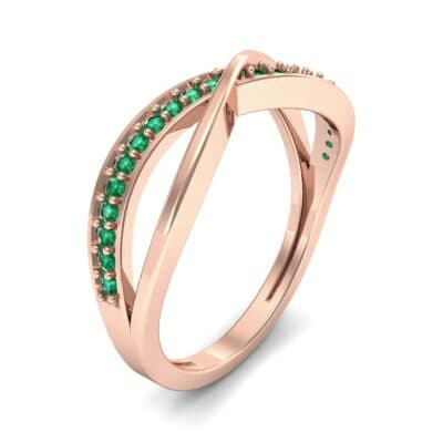 Crossed Half-Pave Emerald Ring (0.15 CTW) Perspective View