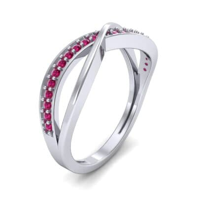 Crossed Half-Pave Ruby Ring (0.15 CTW) Perspective View
