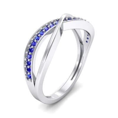 Crossed Half-Pave Blue Sapphire Ring (0.15 CTW) Perspective View