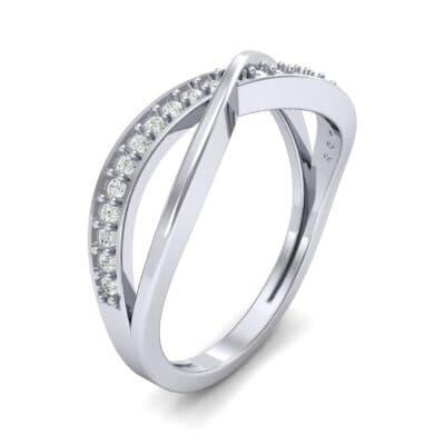 Crossed Half-Pave Diamond Ring (0.15 CTW) Perspective View