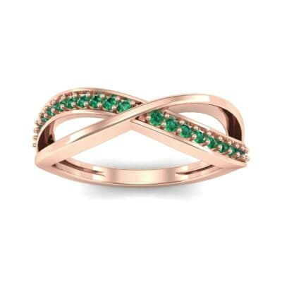 Crossed Half-Pave Emerald Ring (0.15 CTW) Top Dynamic View