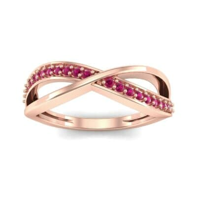 Crossed Half-Pave Ruby Ring (0.15 CTW) Top Dynamic View