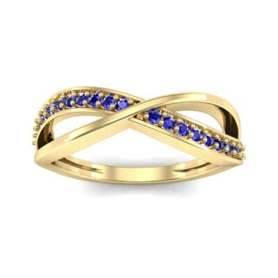 Crossed Half-Pave Blue Sapphire Ring (0.15 CTW) Top Dynamic View