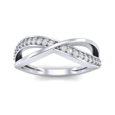 Crossed Half-Pave Diamond Ring (0.15 CTW) Top Dynamic View
