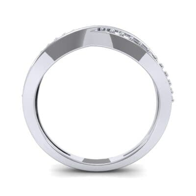 Crossed Half-Pave Diamond Ring (0.15 CTW) Side View