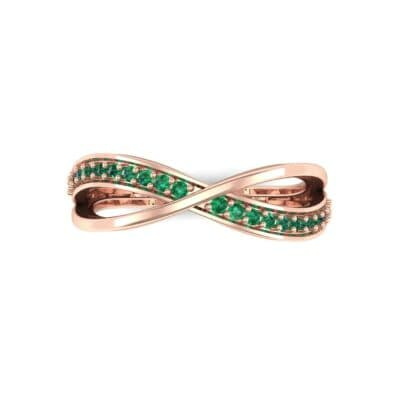 Crossed Half-Pave Emerald Ring (0.15 CTW) Top Flat View