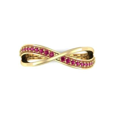 Crossed Half-Pave Ruby Ring (0.15 CTW) Top Flat View