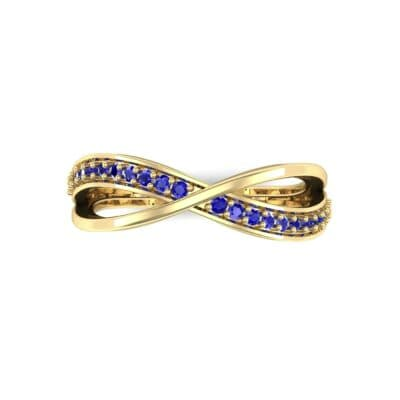 Crossed Half-Pave Blue Sapphire Ring (0.15 CTW) Top Flat View
