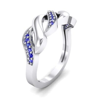 Pave Plume Blue Sapphire Ring (0.11 CTW) Perspective View