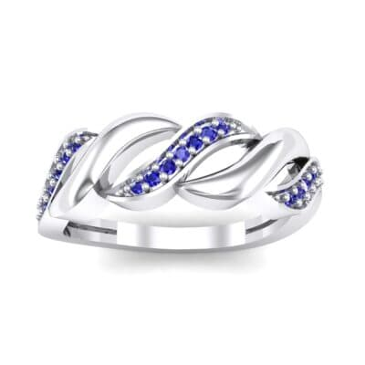 Pave Plume Blue Sapphire Ring (0.11 CTW) Top Dynamic View
