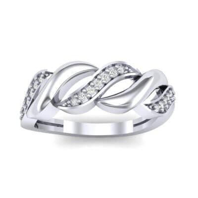 Pave Plume Diamond Ring (0.11 CTW) Top Dynamic View