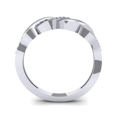 Pave Plume Blue Sapphire Ring (0.11 CTW) Side View