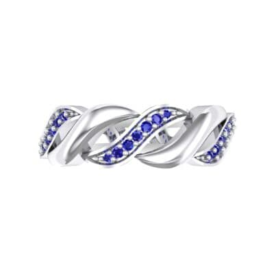 Pave Plume Blue Sapphire Ring (0.11 CTW) Top Flat View
