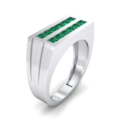 Inset Signet Emerald Ring (0.72 CTW) Perspective View