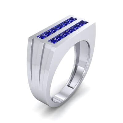 Inset Signet Blue Sapphire Ring (0.72 CTW) Perspective View
