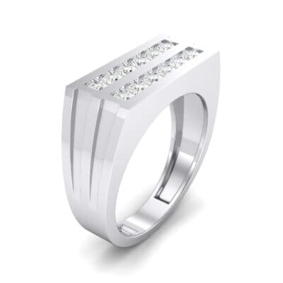 Inset Signet Crystal Ring (0.72 CTW) Perspective View