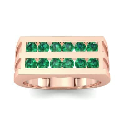 Inset Signet Emerald Ring (0.72 CTW) Top Dynamic View