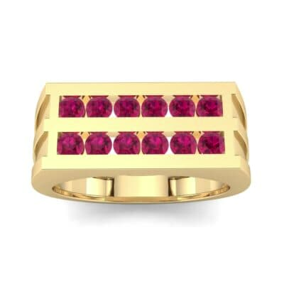 Inset Signet Ruby Ring (0.72 CTW) Top Dynamic View