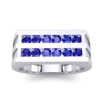 Inset Signet Blue Sapphire Ring (0.72 CTW) Top Dynamic View