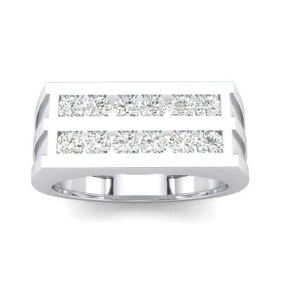 Inset Signet Crystal Ring (0.72 CTW) Top Dynamic View