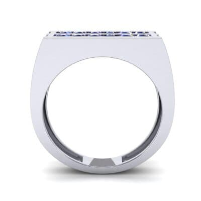 Inset Signet Blue Sapphire Ring (0.72 CTW) Side View