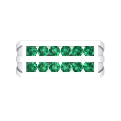 Inset Signet Emerald Ring (0.72 CTW) Top Flat View