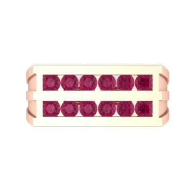 Inset Signet Ruby Ring (0.72 CTW) Top Flat View
