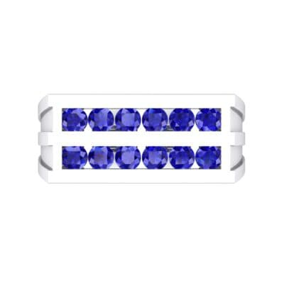Inset Signet Blue Sapphire Ring (0.72 CTW) Top Flat View