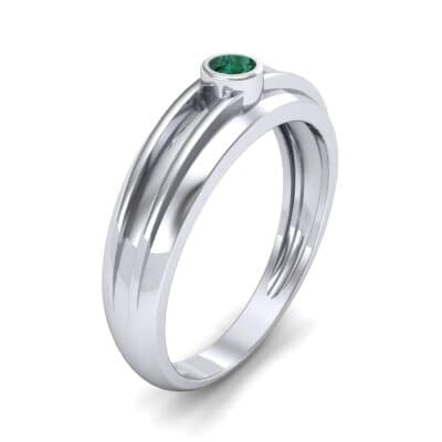 Striped Bezel-Set Emerald Ring (0.1 CTW) Perspective View