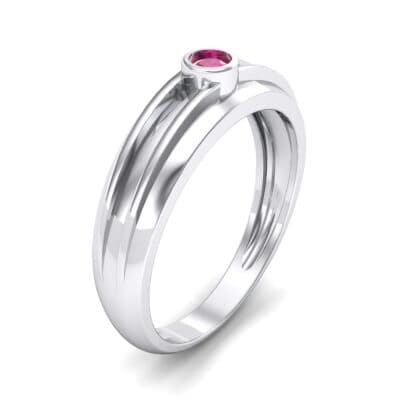 Striped Bezel-Set Ruby Ring (0.1 CTW) Perspective View