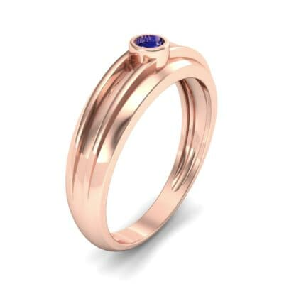 Striped Bezel-Set Blue Sapphire Ring (0.1 CTW) Perspective View