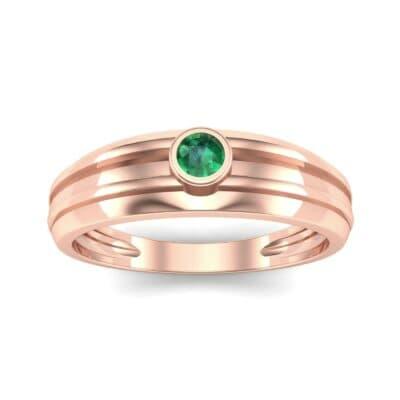 Striped Bezel-Set Emerald Ring (0.1 CTW) Top Dynamic View