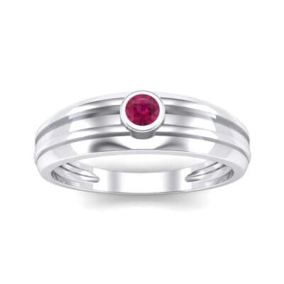 Striped Bezel-Set Ruby Ring (0.1 CTW) Top Dynamic View