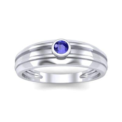 Striped Bezel-Set Blue Sapphire Ring (0.1 CTW) Top Dynamic View