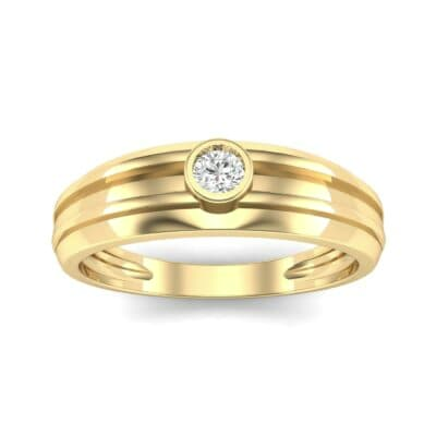 Striped Bezel-Set Diamond Ring (0.1 CTW) Top Dynamic View